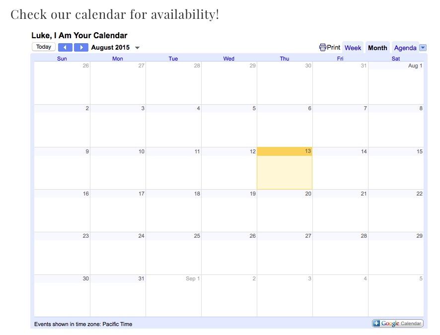 published calendar