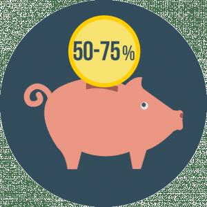 50-75 percent savings